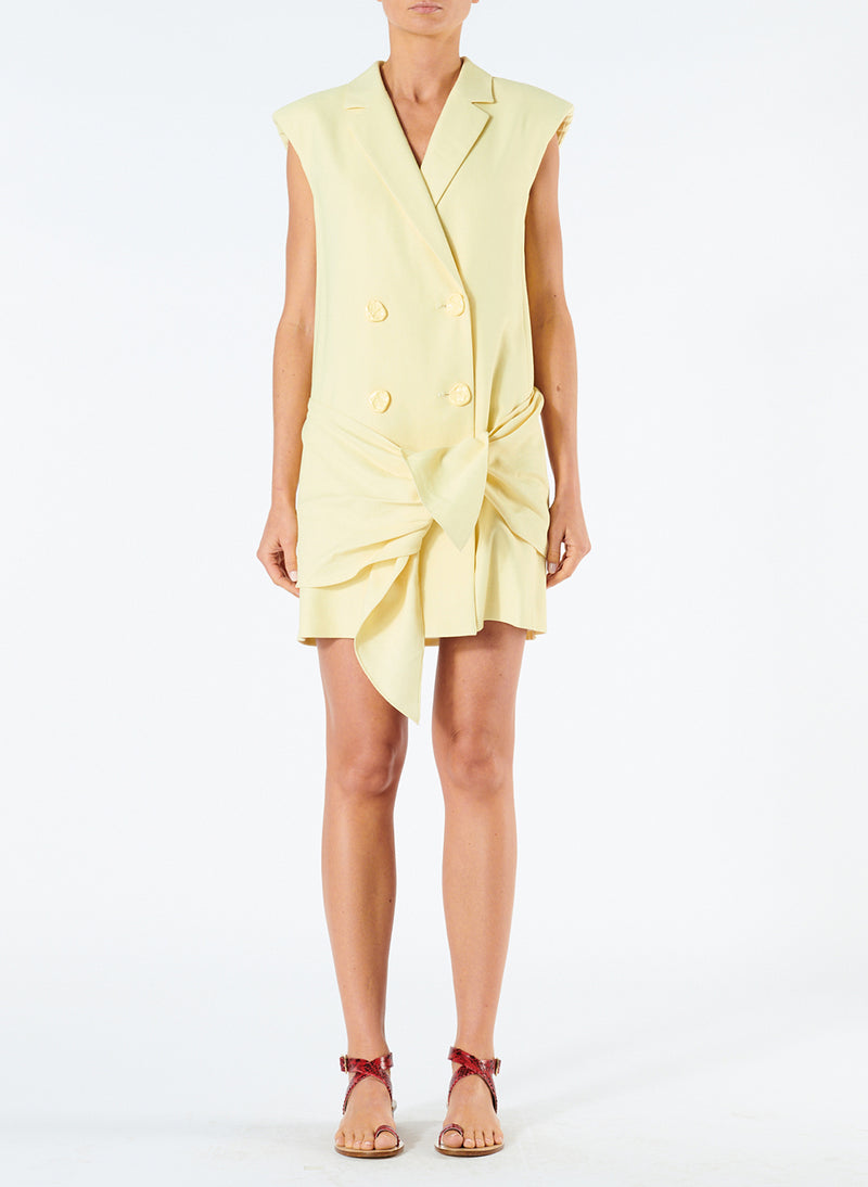 Linen Viscose Sleeveless Jacket Dress with Removable Tie Pale Yellow-1