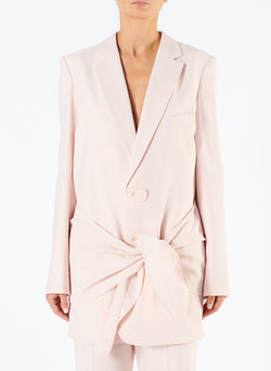 Linen Viscose Long Blazer with Removable Tie Baby Pink-3