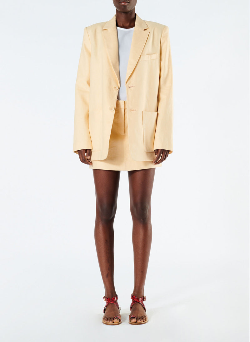 Linen Canvas Long Blazer Biscotti-1