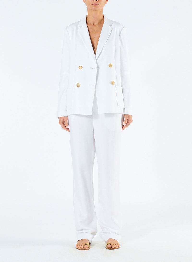 Spring Blazer with Sleeve Slit White-3
