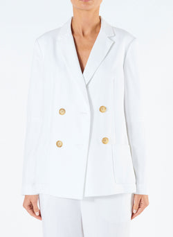 Spring Blazer with Sleeve Slit White-1