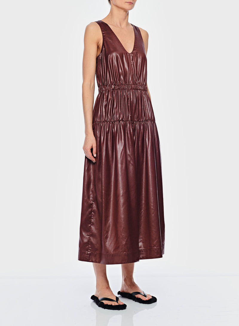 Liquid Drape Shirred Waist Dress Burgundy-1