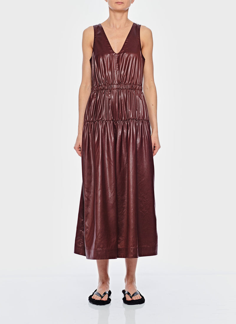 Liquid Drape Shirred Waist Dress Burgundy-2