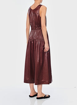Liquid Drape Shirred Waist Dress Burgundy-3