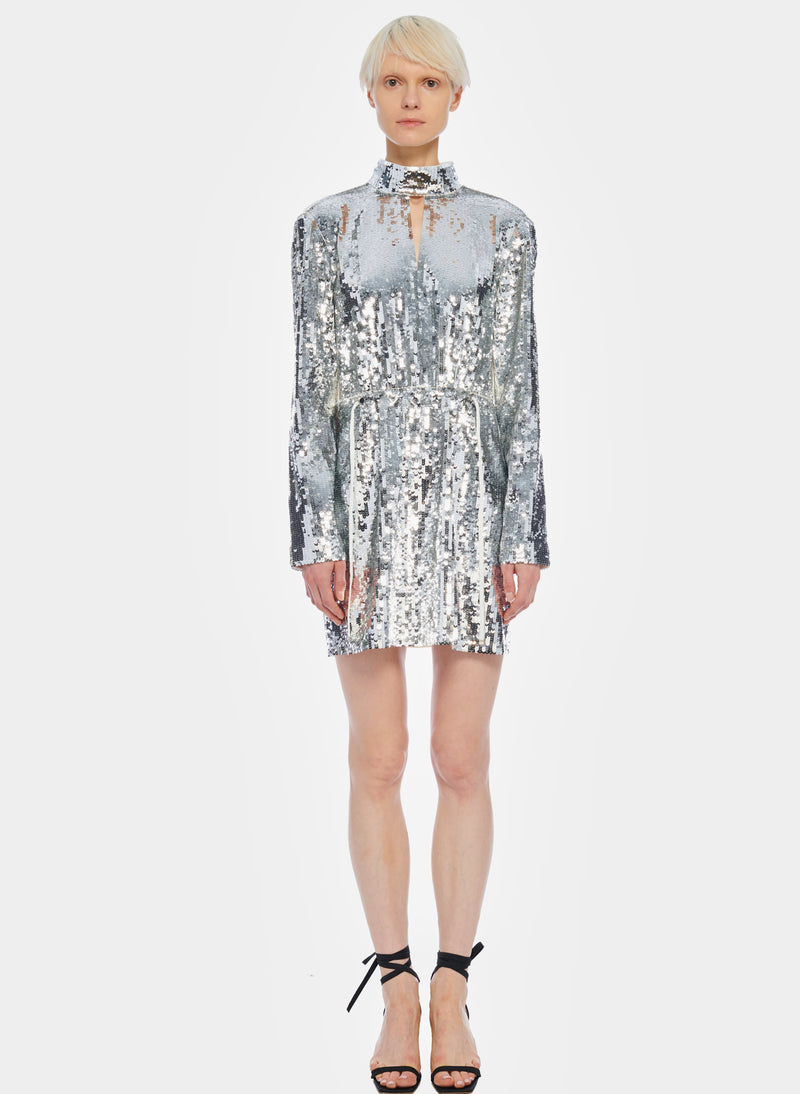 Short Sequin Dress Ivory/Silver Multi-1