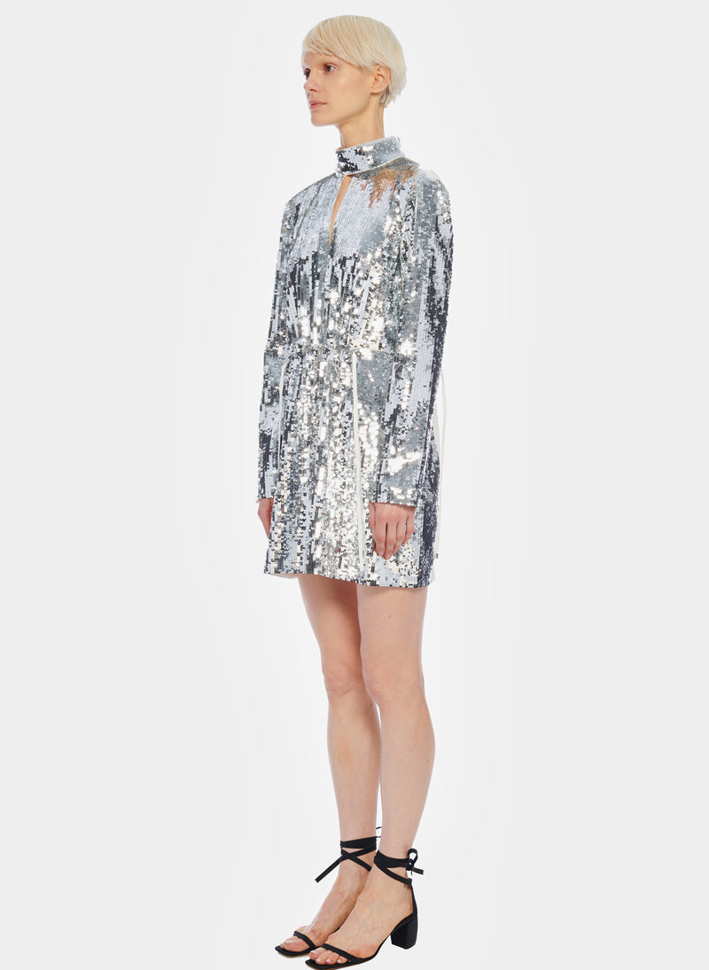 Short Sequin Dress Ivory/Silver Multi-2