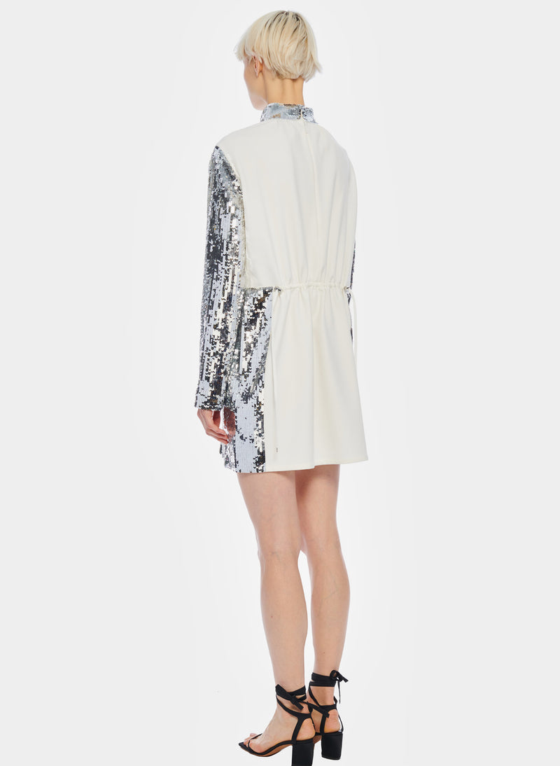 Short Sequin Dress Ivory/Silver Multi-3