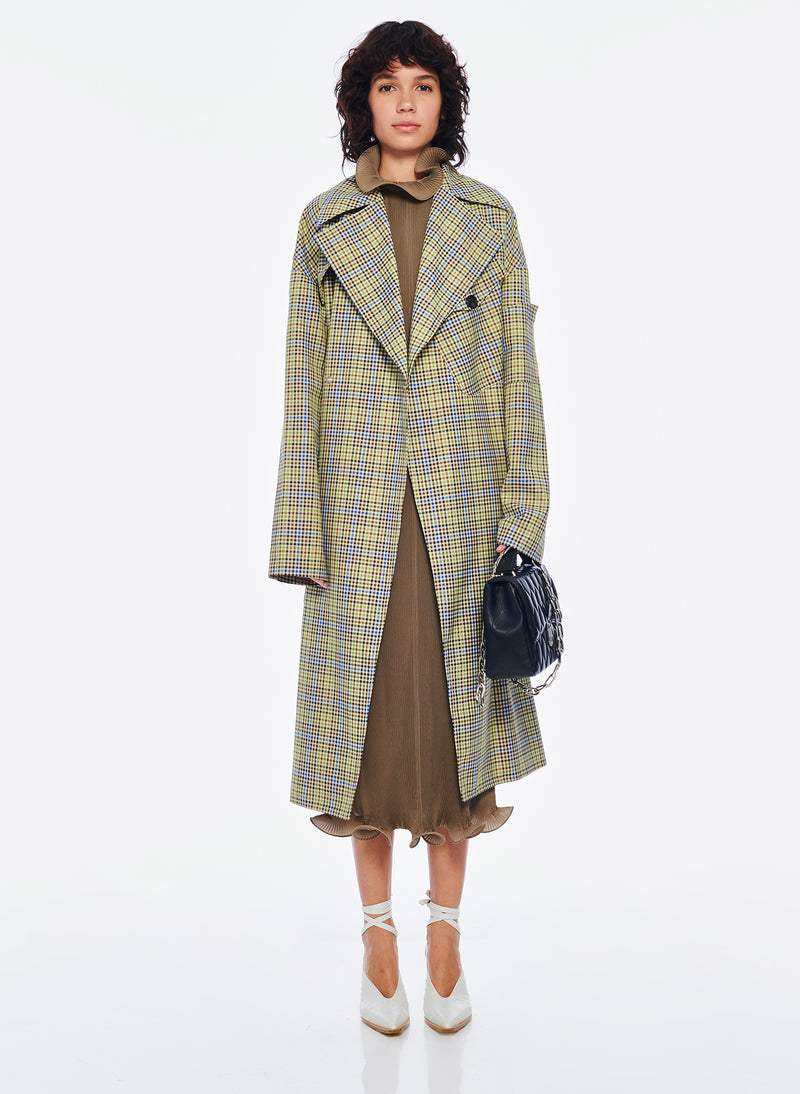 Recycled Menswear Check Trench Coat Recycled Menswear Check Trench Coat