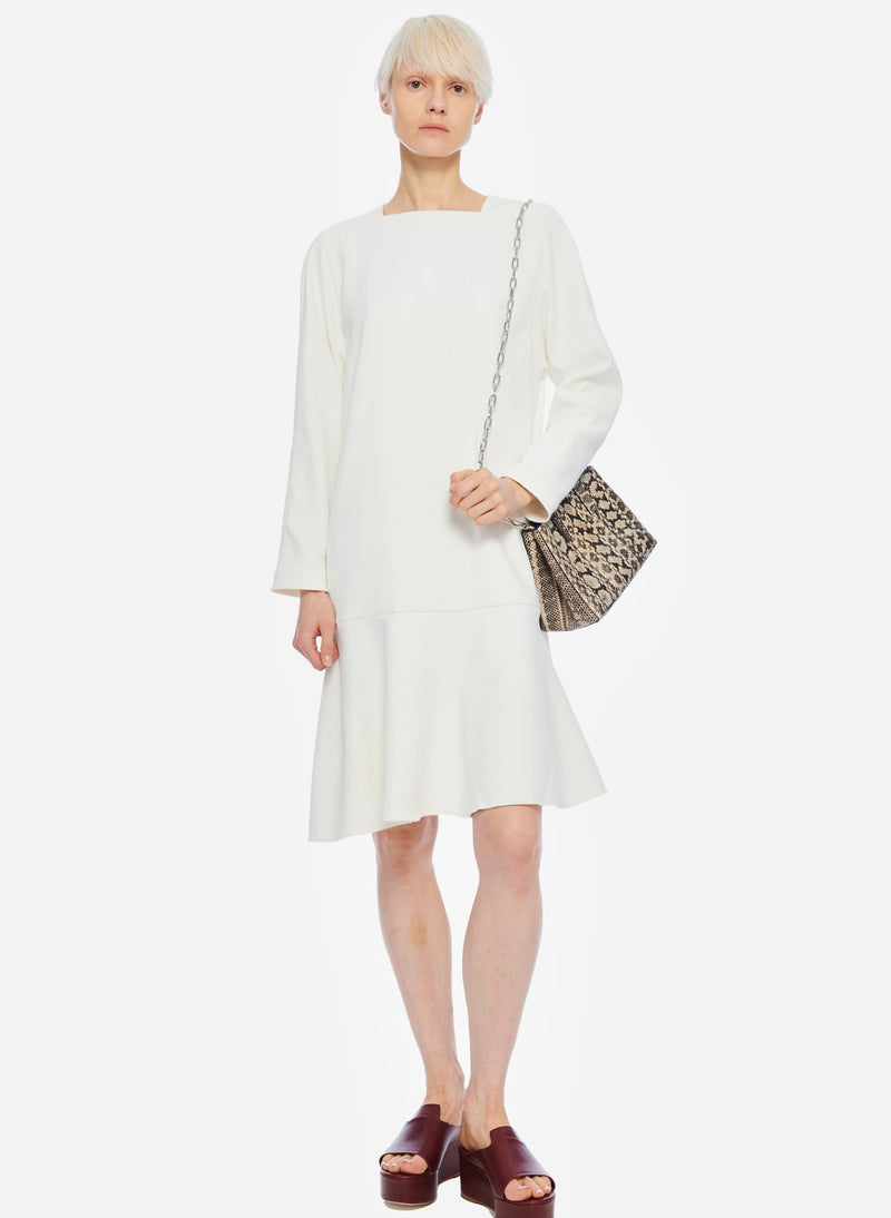 Chalky Drape Square Neck Dropwaist Dress Ivory-5