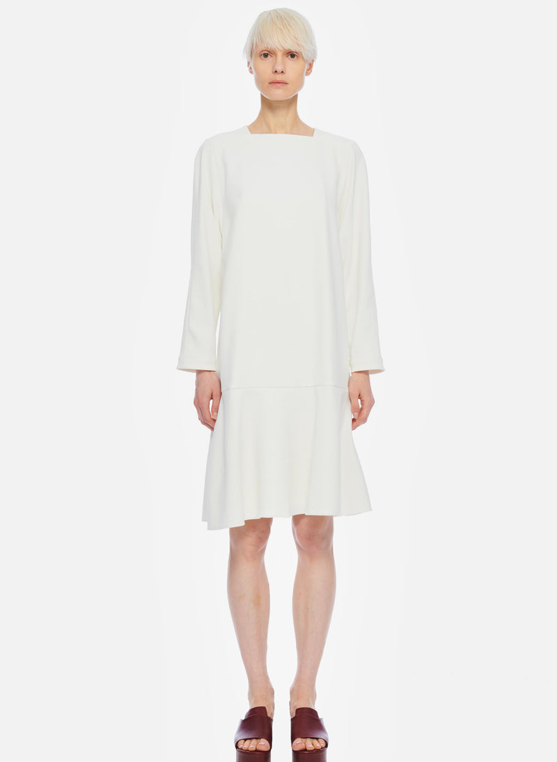 Chalky Drape Square Neck Dropwaist Dress Ivory-1