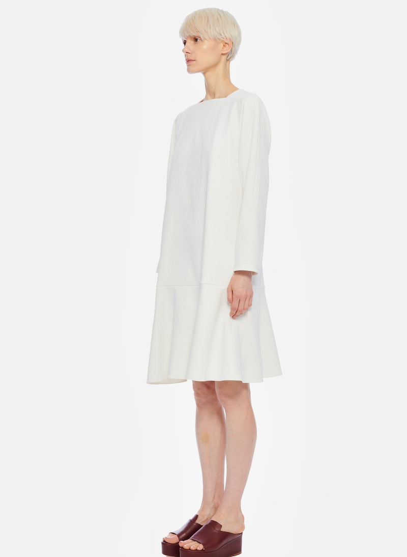 Chalky Drape Square Neck Dropwaist Dress Ivory-2