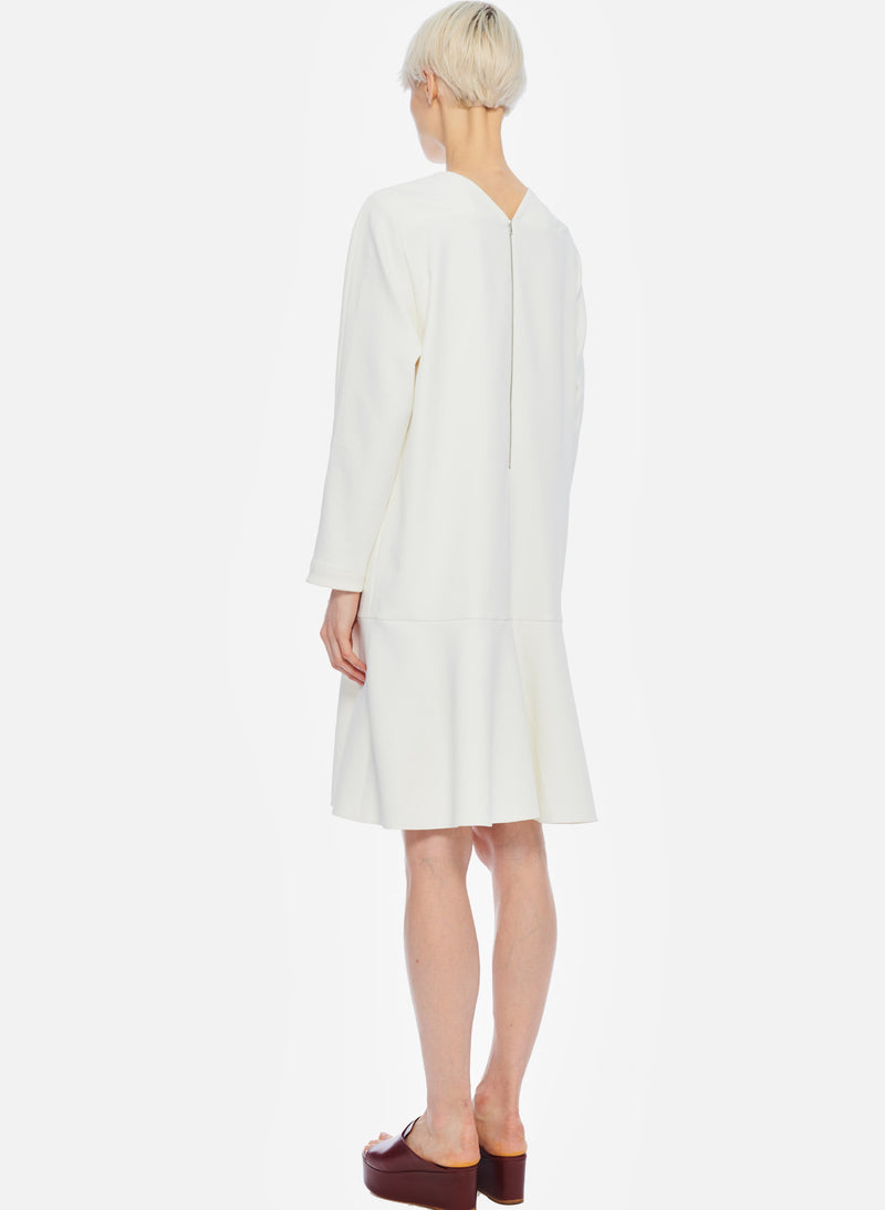 Chalky Drape Square Neck Dropwaist Dress Ivory-3