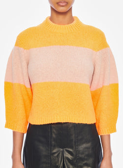 Cozette Alpaca Stripe Cropped Pullover Tangerine/Light Burlywood Multi-4