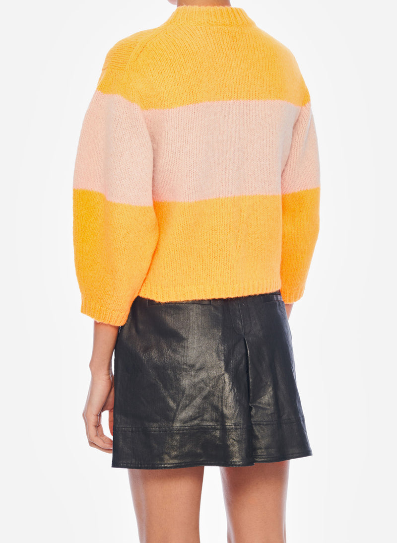 Cozette Alpaca Stripe Cropped Pullover Tangerine/Light Burlywood Multi-3