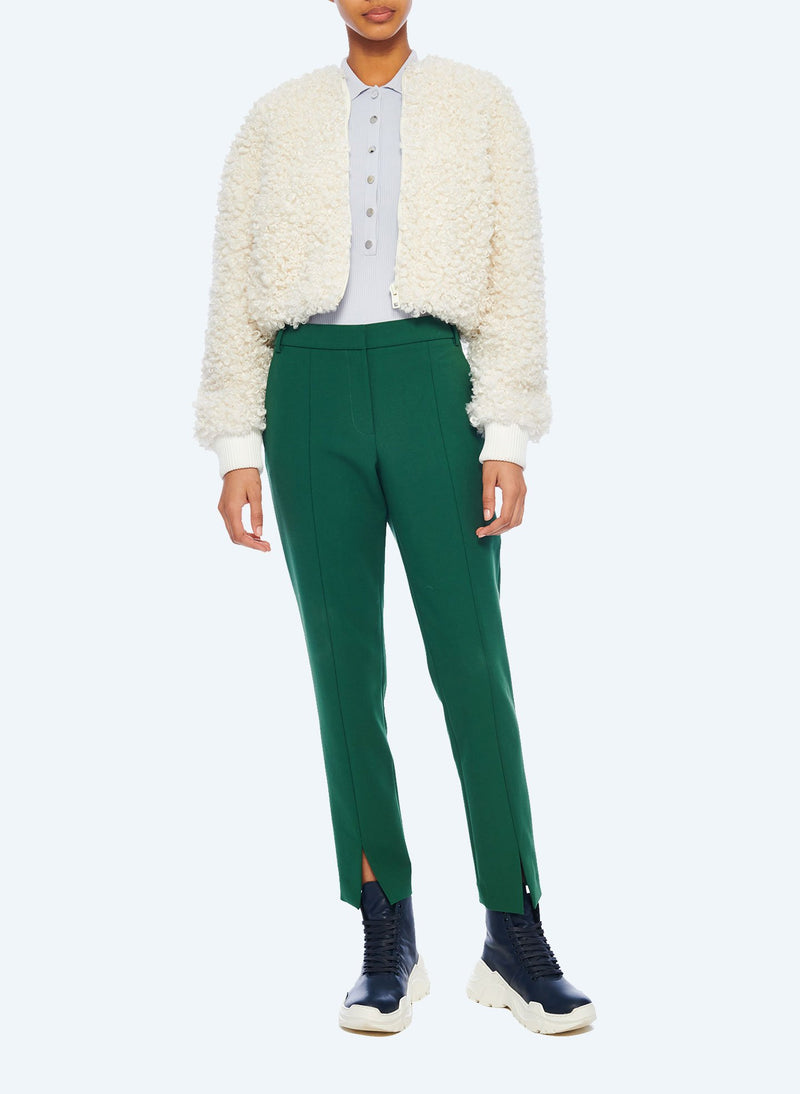 Faux Lamb Cropped Bomber Ivory-5