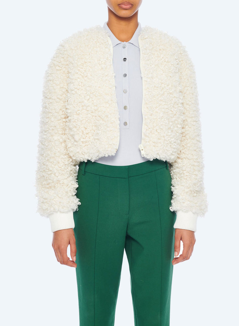 Faux Lamb Cropped Bomber Ivory-1