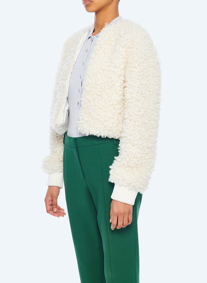 Faux Lamb Cropped Bomber Ivory-2