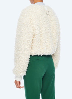 Faux Lamb Cropped Bomber Ivory-3