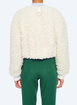 Faux Lamb Cropped Bomber Ivory-4