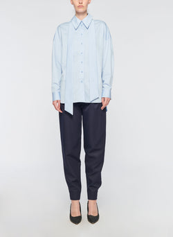 Satin Poplin Easy Shirt with Zipper and Tie Detail Morning Blue-5