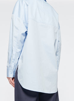 Satin Poplin Easy Shirt with Zipper and Tie Detail Morning Blue-3
