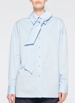 Satin Poplin Easy Shirt with Zipper and Tie Detail Morning Blue-1