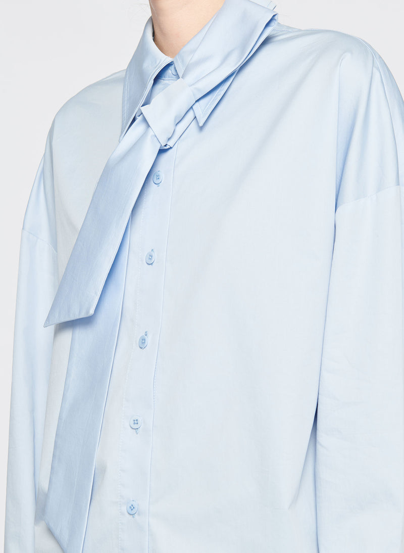 Satin Poplin Easy Shirt with Zipper and Tie Detail Morning Blue-4