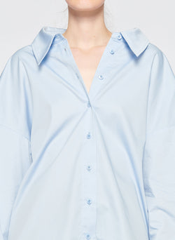 Satin Poplin Easy Shirt with Zipper and Tie Detail Morning Blue-2