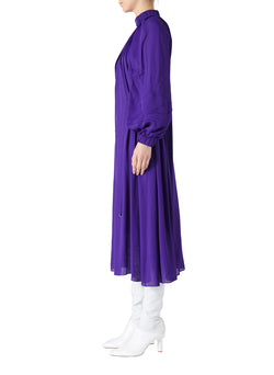 Viscose Georgette Midi Drawstring Dress Indigo Purple-3