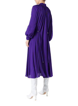 Viscose Georgette Midi Drawstring Dress Indigo Purple-2