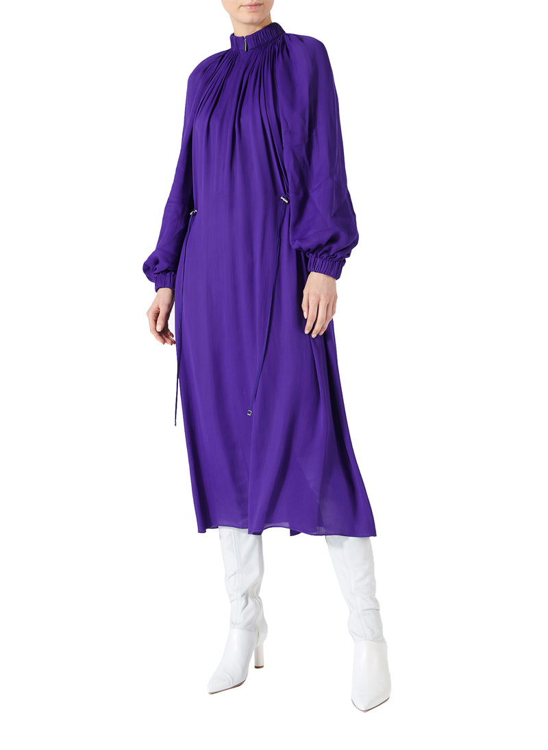 Viscose Georgette Midi Drawstring Dress Indigo Purple-1