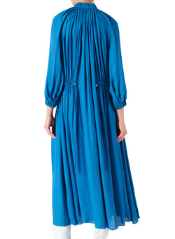 Viscose Georgette Midi Drawstring Dress Sky Blue-7