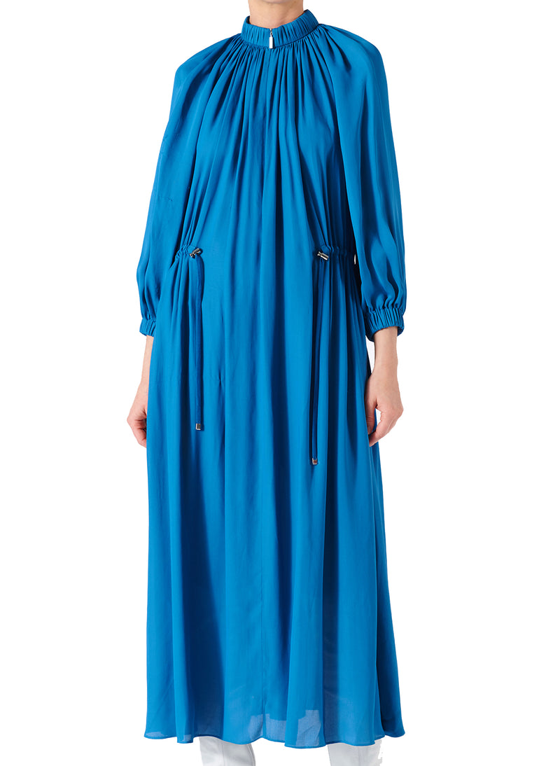 Viscose Georgette Midi Drawstring Dress Sky Blue-6