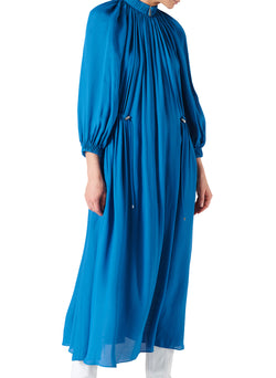 Viscose Georgette Midi Drawstring Dress Sky Blue-8