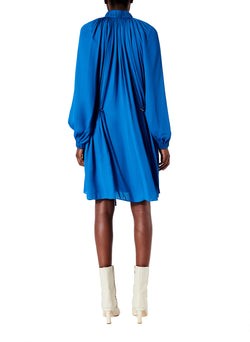 Viscose Georgette Short Drawstring Dress Sky Blue-2