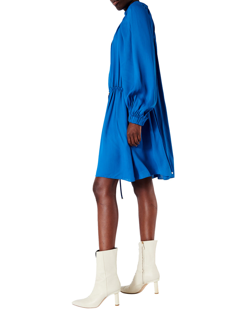 Viscose Georgette Short Drawstring Dress Sky Blue-3