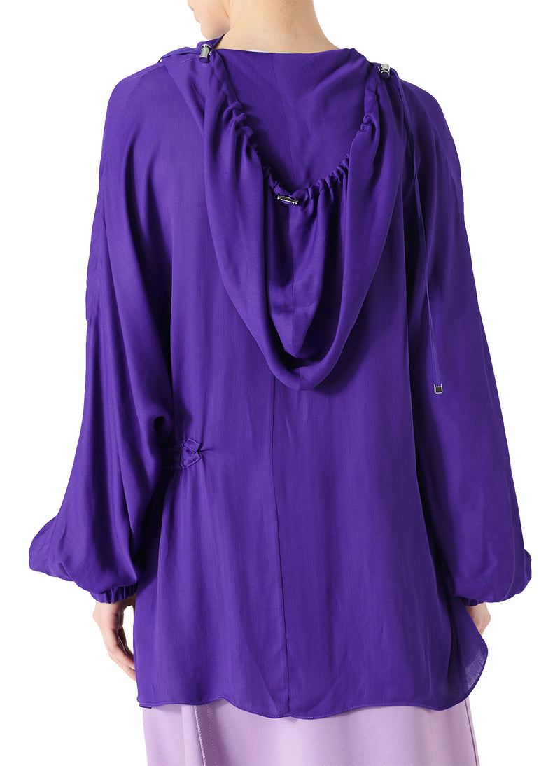 Viscose Georgette Drawstring Detail Hoodie Indigo Purple-2