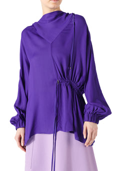 Viscose Georgette Drawstring Detail Hoodie Indigo Purple-1