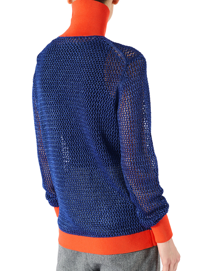 Crochet Turtleneck Pullover Blue/Orange Multi - 2