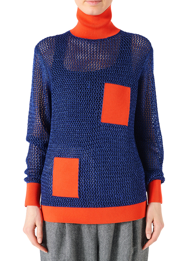 Crochet Turtleneck Pullover Blue/Orange Multi - 1