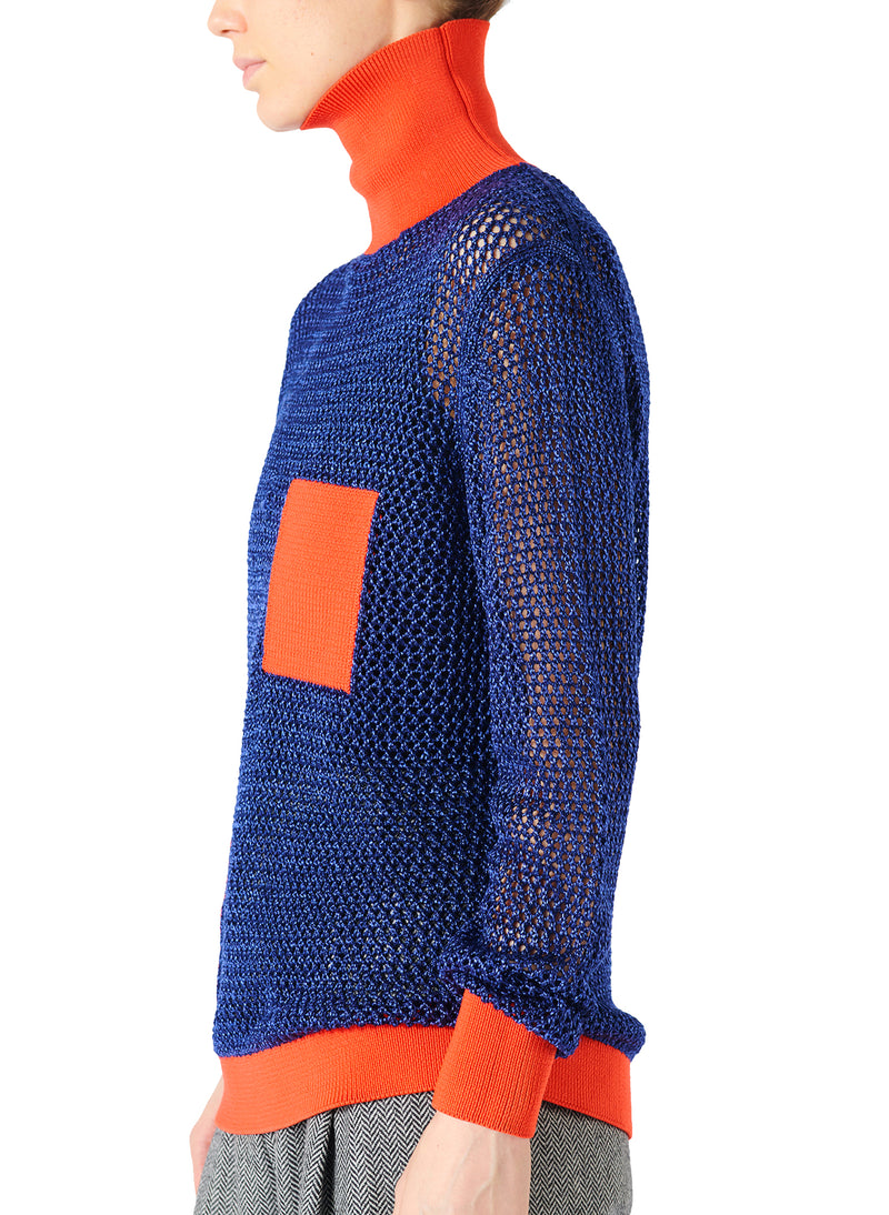 Crochet Turtleneck Pullover Blue/Orange Multi - 3
