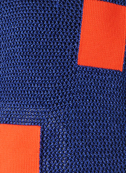 Crochet Turtleneck Pullover Blue/Orange Multi - 4