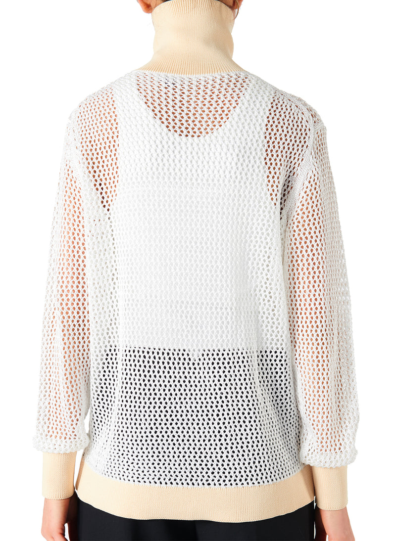 Crochet Turtleneck Pullover White/Beige Multi - 7