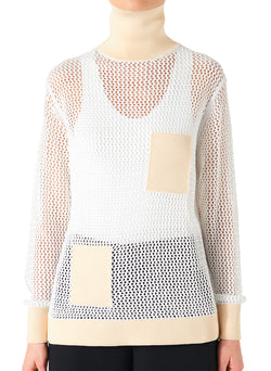 Crochet Turtleneck Pullover White/Beige Multi - 6