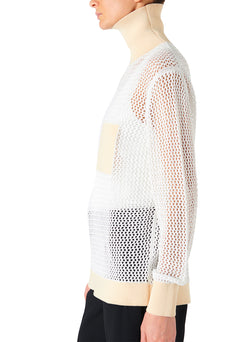 Crochet Turtleneck Pullover White/Beige Multi - 8