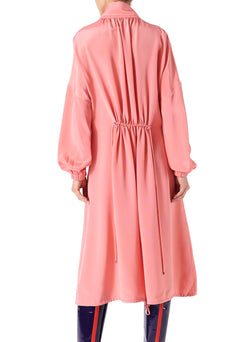 Silk Drawstring Ruched Dress Pink-2