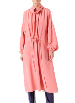 Silk Drawstring Ruched Dress Pink-1