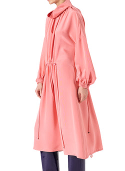 Silk Drawstring Ruched Dress Pink-3