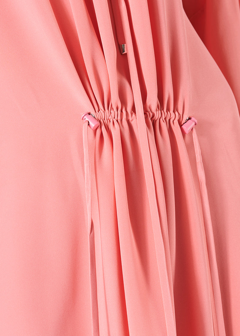 Silk Drawstring Ruched Dress Pink-4