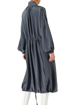 Silk Drawstring Ruched Dress Grey-7